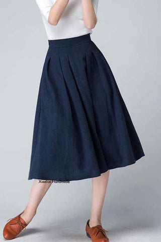 Women's pleated midi skrit 1500#