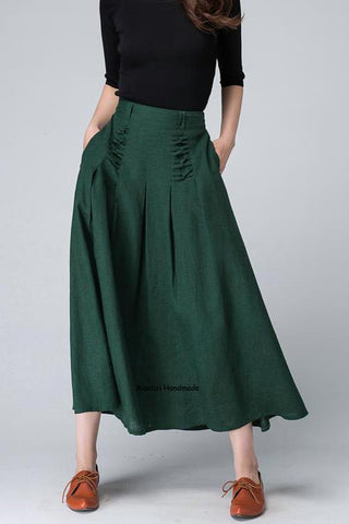 Green linen maxi skirt with  special crisscross styling detail in front waist 1505