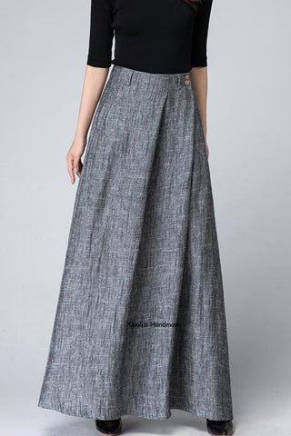 Grey maxi skirt with pleated detail wasit 1506#