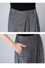 Load image into Gallery viewer, Grey maxi skirt with pleated detail wasit 1506#