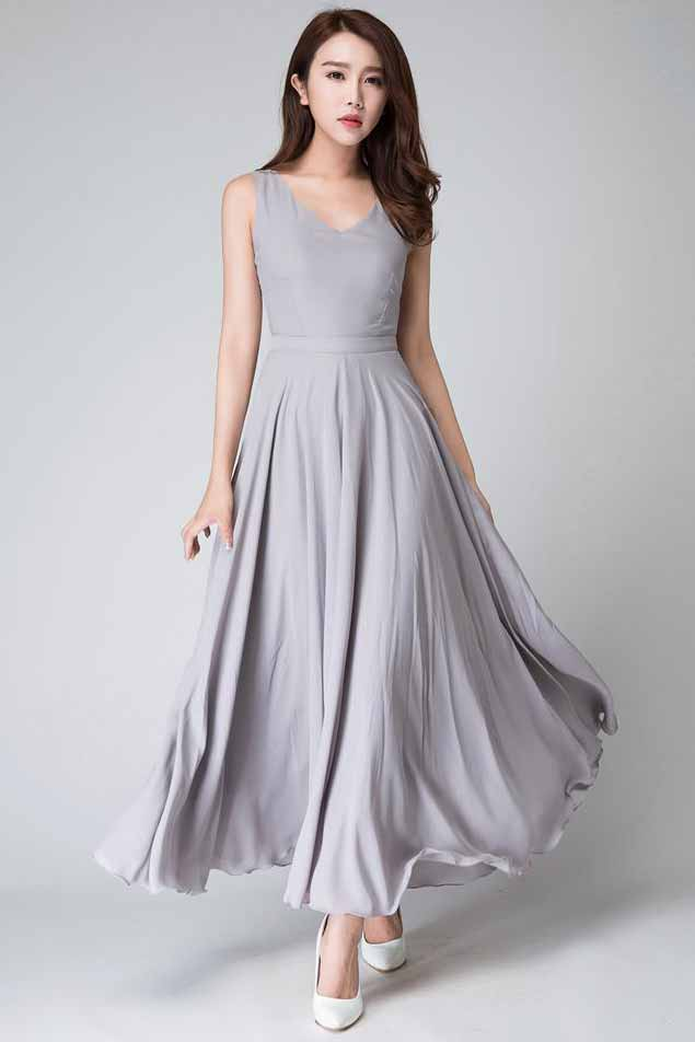 Gray sleeveless Maxi fit and flare dress 1525#
