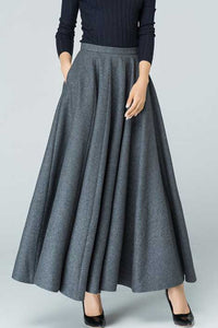 Women's maxi wool circle skirt in Grey 1586#