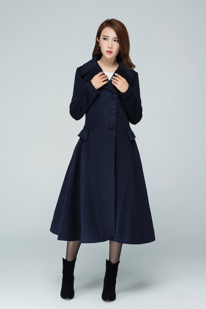 Above calf length black wool coat foe women  1597#