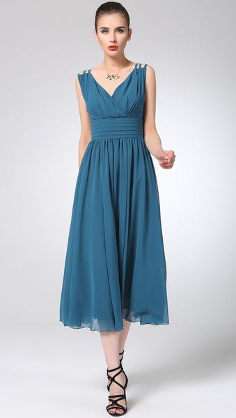 Blue chiffon dress maxi dress women long dress prom dress (1213)