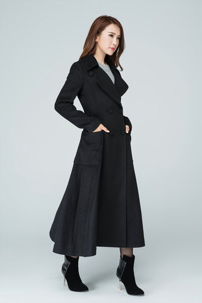 Wool long  women high waist coat with two pockets on the both side 1607