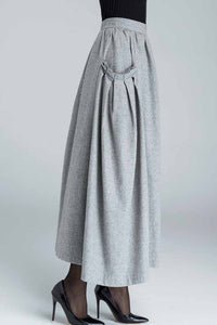 pleated maxi wool skirt with ruff detail pockets 1624#