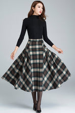 Load image into Gallery viewer, 1950s plaid flare skirt, women's midi skirt 1626#