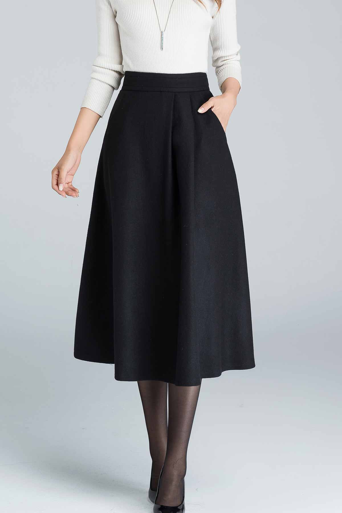 asymmetrical pleated A line midi wool skirt 1636#