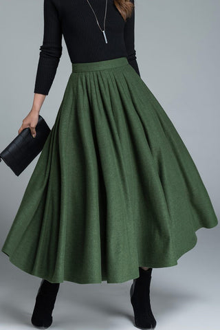 1950s skirt, wool skirt, fit and flare skirt 1641#