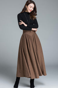 womens skirts, maxi wool skirt for winter 1642#