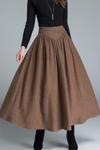 womnes skirts, maxi wool skirt for winter 1642#