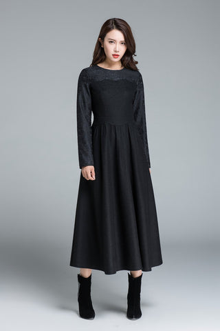 sweet heart wool dress, women long sleeve dress 1650