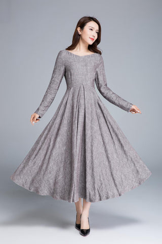 linen dress, pleated dress, women dresses, long dress 1652