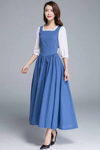 Blue linen fit and flare princess dress 1659#
