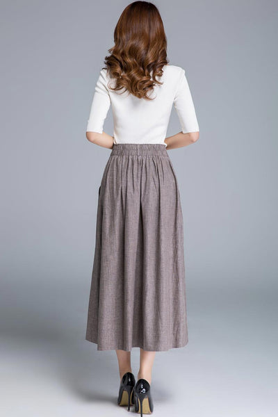 fitted waist long swing skirt 1663#
