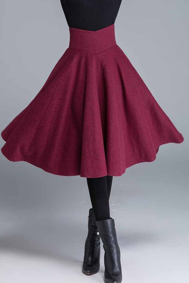 High waist swing wool skirt 1678#