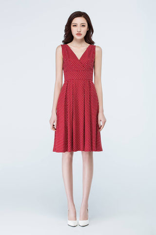 Sleeveless v-neck summer polka dot dress 1706