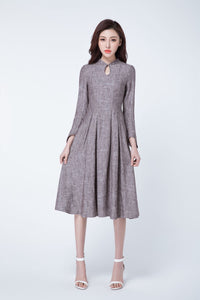 brown linen dress