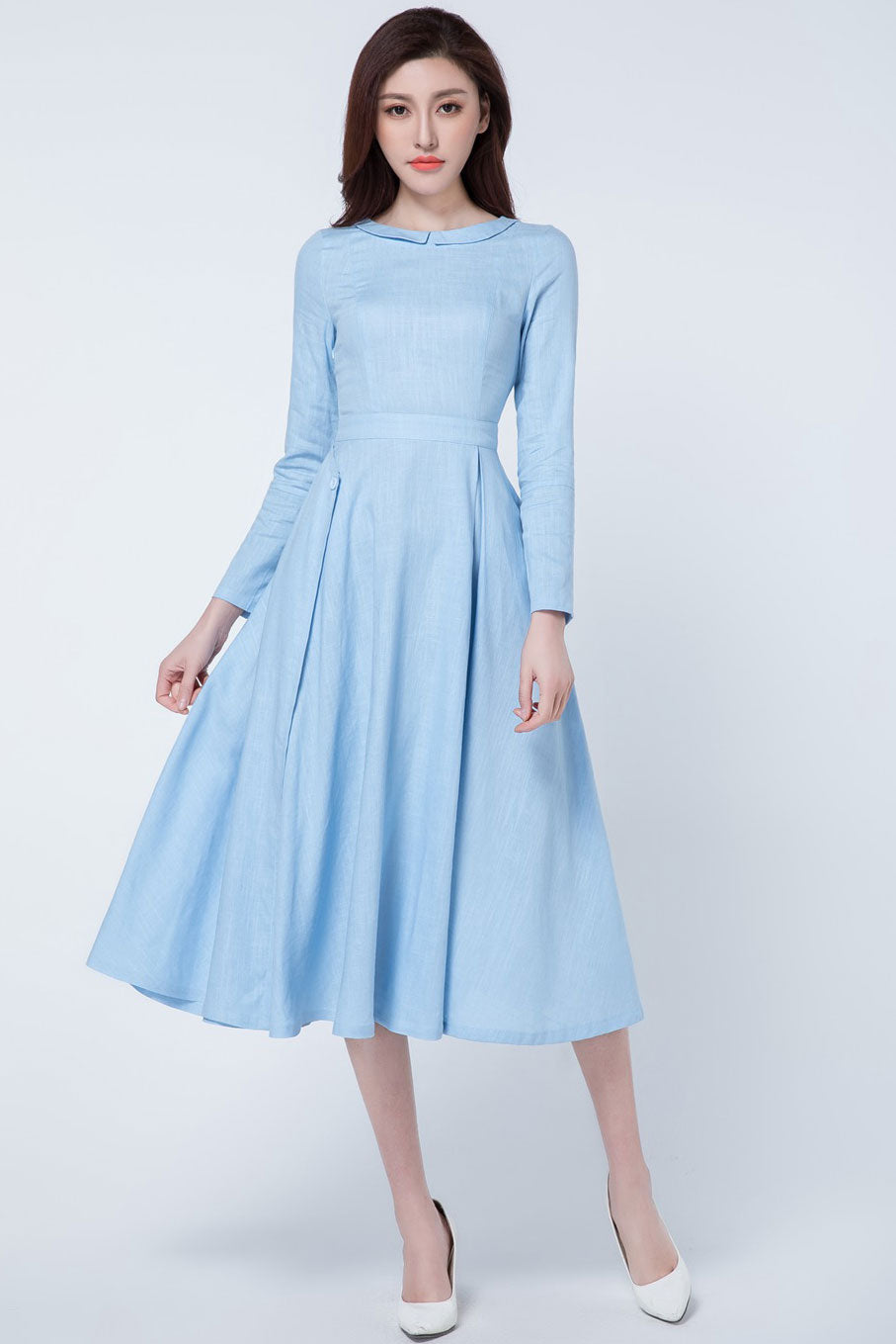 light blue Pleated party dress 1727#