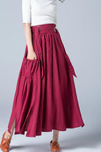 Load image into Gallery viewer, wine red skirt, linen skirt, maxi skirt 1772#