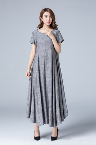 summer high  waist maxi length linen dress 1776