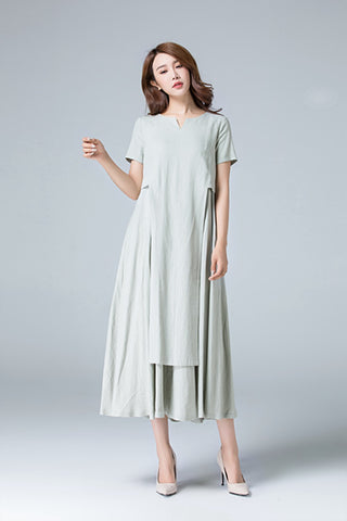 Plain linen dress with irregular folds 1787