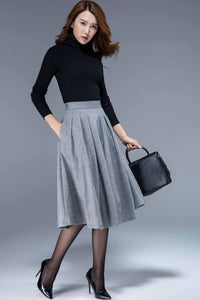 Warm wool pleated midi skirt 1797#