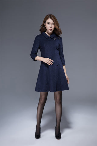 navy blue wool tunic dress 1815