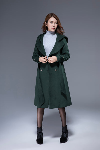 green coat, hooded coat, double breasted coat 1822