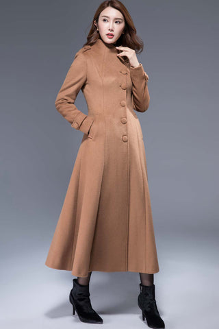 long buttoned camel wool coat winter warm jacket 1826#