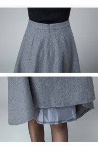 seam detailed A line wool skirt 1832#