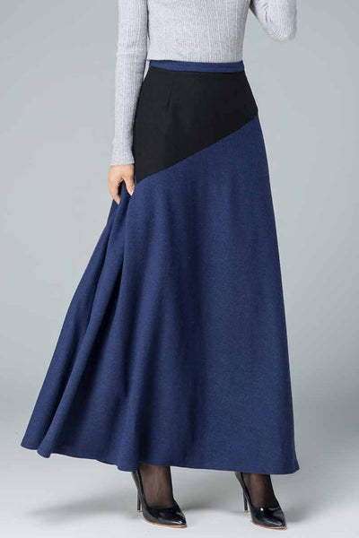 Patchwork A line maxi wool skirt 1795#
