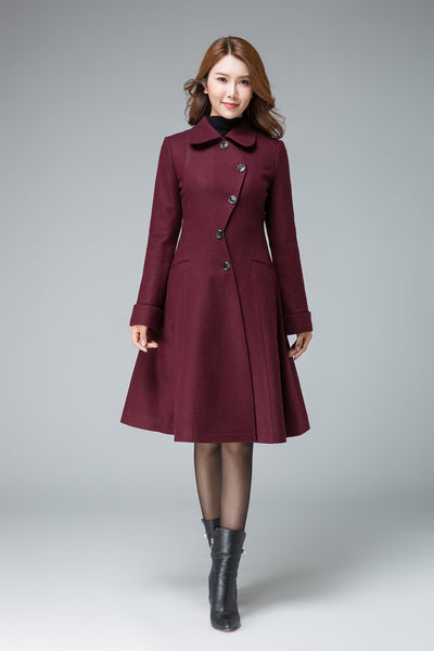 wine red coat