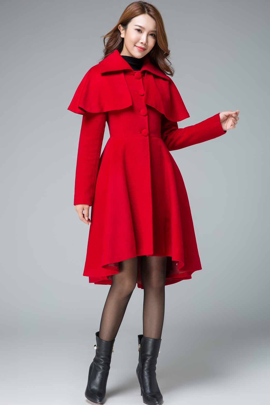 vintage inspired cape coat, red winter capelet coats 1848#