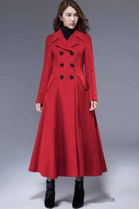 Swing maxi wool coat for winter in Red 1856#