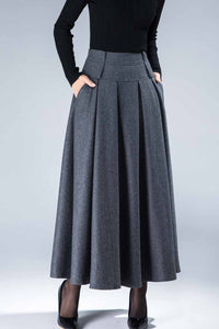 women's vintage pleat maxi wool skirt for winter in grey 1857#