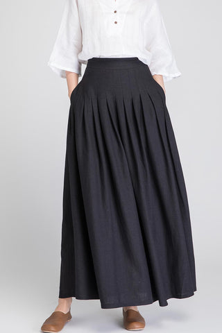 Black skirt, black linen skirt, linen skirt, long linen skirt, pleated skirt, high waisted skirt 1890#