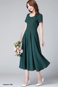 fit and flare linen midi dress, wedding guest dress 1900#