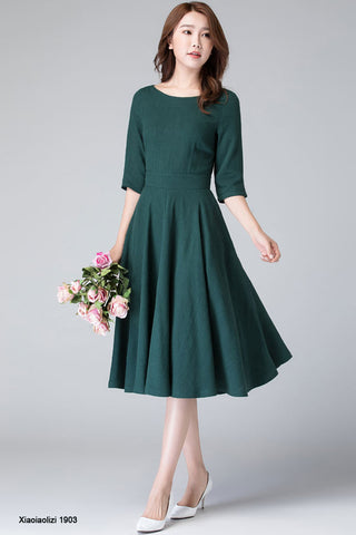 elegant fit and flare swing dress, linen midi dress  1903#