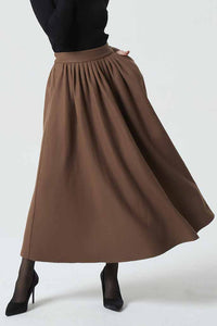 long maxi brown wool skirt, winter skirt for women 1987#