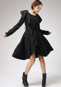 Black wool coat Ruffled Cape coat 699#