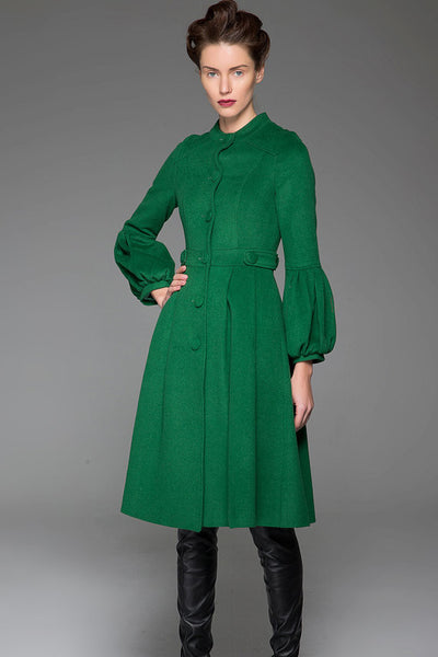 Green Wool Coat Warm Winter Coat With Single-Breasted at Sleeves and Adjustable Waist With String (1417)