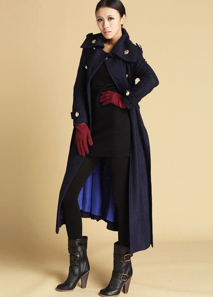 Classical Blue Boyfriend Coat - Long Navy Double-Breasted Tailored Winter Coat (475)