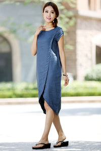 Light blue linen dress (1015)