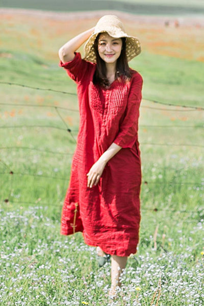 long linen dress for summer with 3/4 sleeves and v-neck CYM469