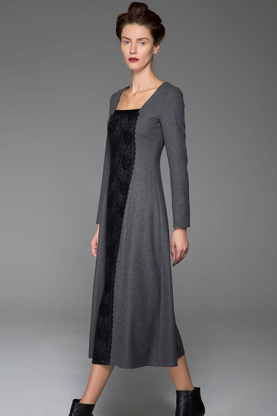Dark Gray Wool Dress Slim Wool Dress Black Stitching Dress (1442)