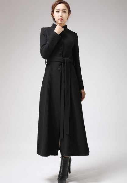 Long Black Dress Coat with Mandarin Collar - Single Breasted Coat Buttoned with Belt (717)