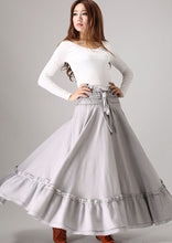 Load image into Gallery viewer, gray skirt ruffle detail Maxi skirt woman linenskirt 0849#