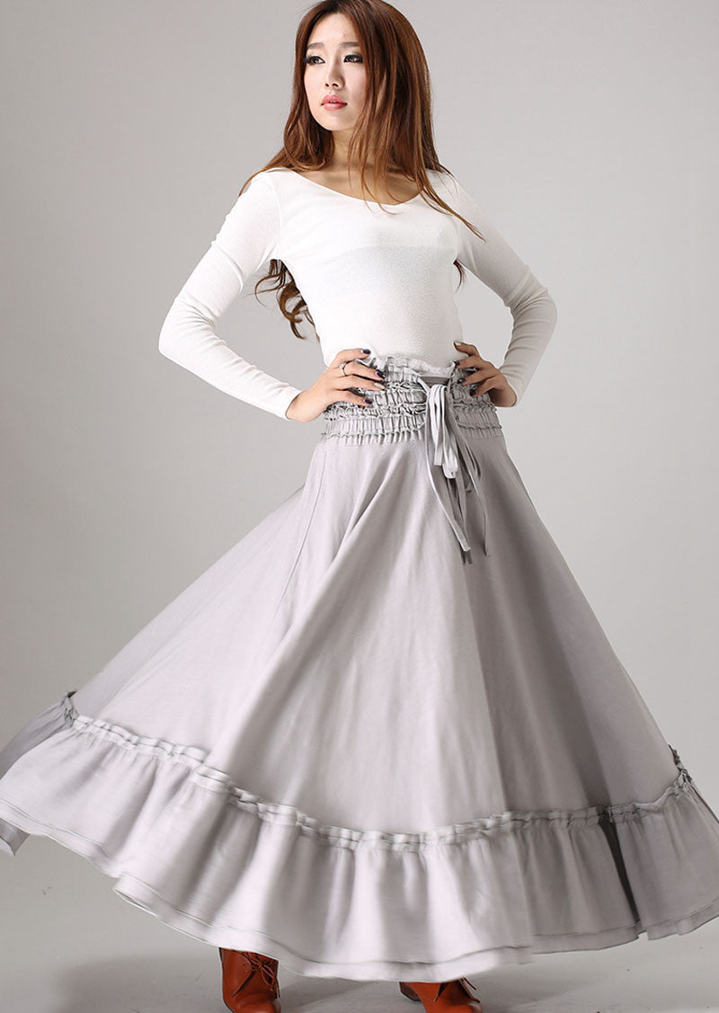gray skirt ruffle detail Maxi skirt woman linenskirt 0849#