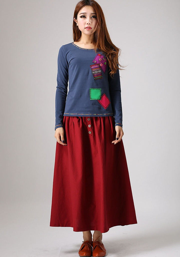 Red skirt women linen skirt maxi skirt elastic waist long skirt (876)